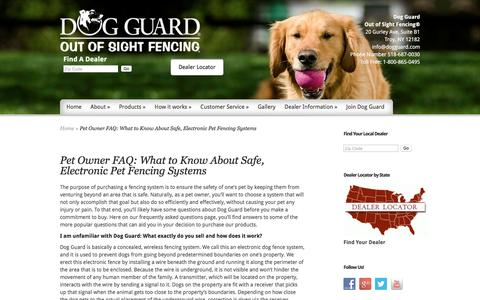 Screenshot of FAQ Page dogguard.com - Electronic Pet Fencing System   Pet-Safe Dog Fence   Dog Guard   Dog Guard - captured Jan. 12, 2017