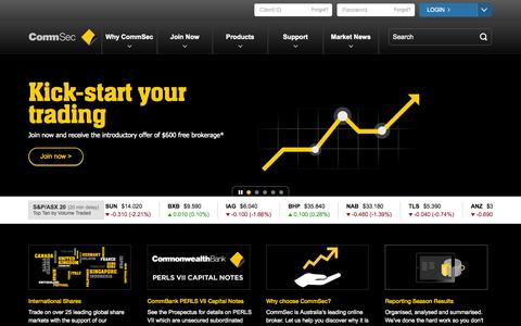 Screenshot of Home Page commsec.com.au - CommSec - Online Share Trading & Investing. Start trading today with Australia's leading online broker. - captured Sept. 18, 2014