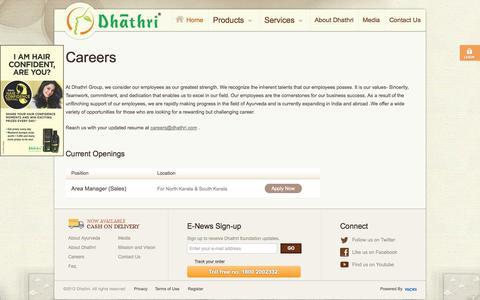 Screenshot of Jobs Page dhathri.com - Dhathri : Careers - captured Oct. 5, 2014