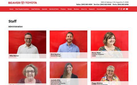 Screenshot of Team Page beavertoyotastaugustine.com - Beaver Toyota St. Augustine Staff | St. Augustine Toyota Dealer - captured Oct. 10, 2017