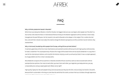 Screenshot of FAQ Page afriek.com - FAQ – Afriek - captured Nov. 6, 2018