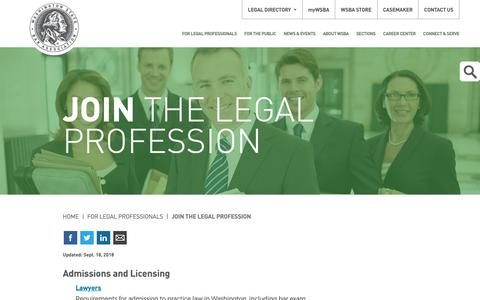Screenshot of Signup Page wsba.org - Join the Legal Profession - captured Oct. 19, 2018