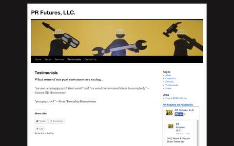 Screenshot of Testimonials Page wordpress.com - Testimonials | PR Futures, LLC. - captured Sept. 12, 2014