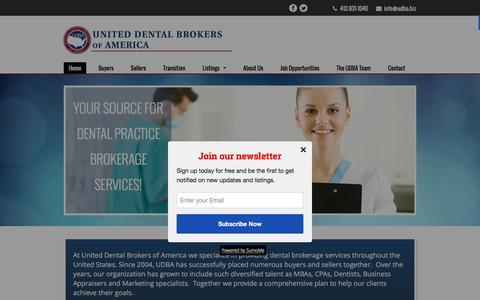 Screenshot of Home Page udba.biz - Home - United Dental Brokers of America - captured Feb. 13, 2016