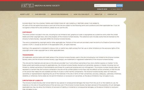 Screenshot of Terms Page azhumane.org - Terms & Conditions - captured Sept. 19, 2014