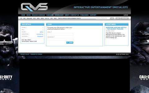 Screenshot of Login Page qvsoftware.com.au - QV Software - captured Sept. 30, 2014