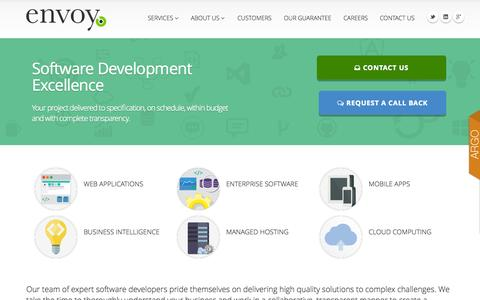 Screenshot of Home Page envoyat.com - Custom Software Development, Managed Hosting, Mobile Apps - Envoy Advanced Technologies - captured Oct. 2, 2014