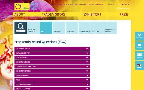 Screenshot of FAQ Page fruitlogistica.com - FRUIT LOGISTICA - FAQ - captured Feb. 12, 2018