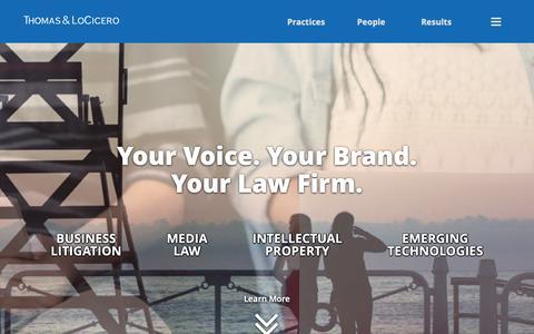 Screenshot of Home Page tlolawfirm.com - Trademark | Business Law | Media Attorney | Thomas & LoCicero - captured Nov. 19, 2018