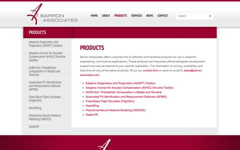 Screenshot of Products Page barron-associates.com - Products - Barron Associates - captured Oct. 5, 2018