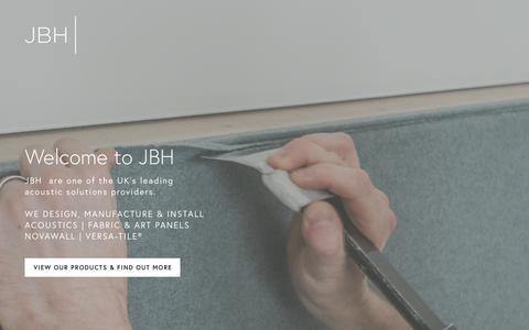 Screenshot of Home Page jbhacoustics.com - JBH - captured Oct. 1, 2018