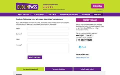 Screenshot of Contact Page FAQ Page dublinpass.com - Dublin Pass Contact Details & Telephone Number - captured Feb. 29, 2016