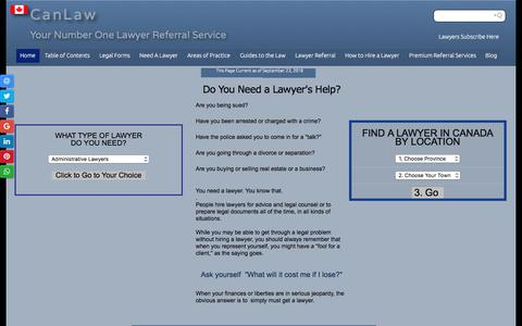 Screenshot of Home Page canlaw.com - Lawyers Referrals Trust CanLaw lawyer referrals Fast free confidential  Free - captured Sept. 23, 2018