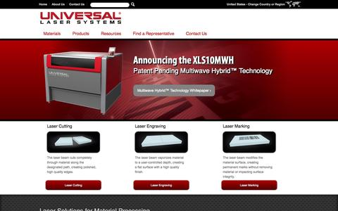 Screenshot of Home Page ulsinc.com - Laser Cutting, Engraving and Marking Equipment, Machines and Software | Universal Laser Systems - captured Sept. 25, 2014