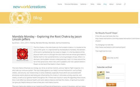 Screenshot of Blog nwcreations.com - New World Creations' Blog - Mandala Art, Video, and Inspiration - captured Oct. 7, 2014