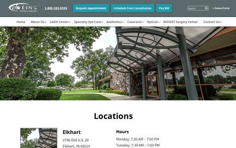 Screenshot of Locations Page bolingvisioncenter.com - Locations | Boling Vision Center | Eye Doctor Goshen - captured Aug. 3, 2018