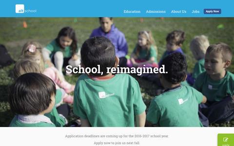 Screenshot of Home Page altschool.com - AltSchool - captured Feb. 9, 2016