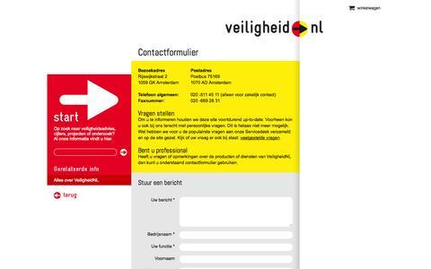 Screenshot of Contact Page veiligheid.nl - VeiligheidNL l Contact - captured Oct. 7, 2014