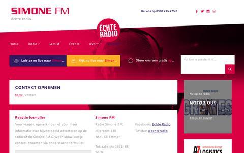 Screenshot of Contact Page simone.nl - Contact - captured Oct. 20, 2018