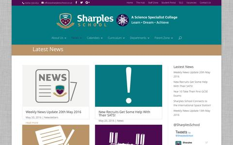 Screenshot of Press Page sharplesschool.co.uk - News | Sharples School - captured May 22, 2016