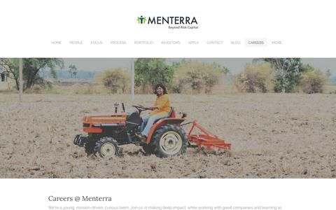 Screenshot of Jobs Page menterra.com - Careers - Menterra Venture Advisors - captured Oct. 18, 2017