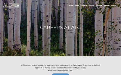 Screenshot of Jobs Page alg-ip.com - Careers – ALG Intellectual Property Attorneys - captured Oct. 2, 2018