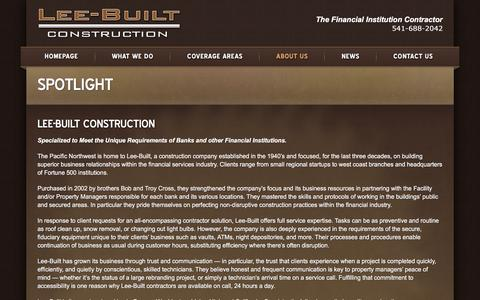 Screenshot of About Page leebuilt.com - About Us | Lee-Built Construction - captured Jan. 28, 2016
