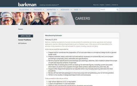 Screenshot of Jobs Page barkmanconcrete.com - Careers | barkman - captured Feb. 7, 2016