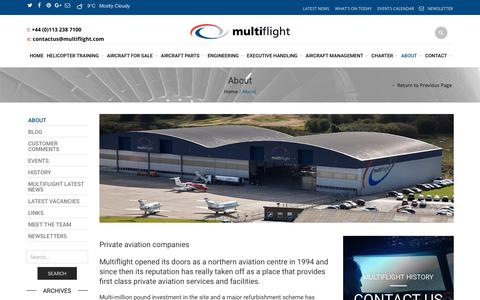 Screenshot of About Page multiflight.com - Private Aviation Companies Leeds, Yorkshire, UK | Multiflight - captured Nov. 2, 2017