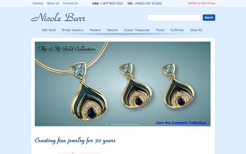 Screenshot of Home Page nicolebarr.com - Nicole Barr Wholesale Enamel Jewelry, Cufflinks in 18K Gold, Silver - captured Oct. 6, 2014