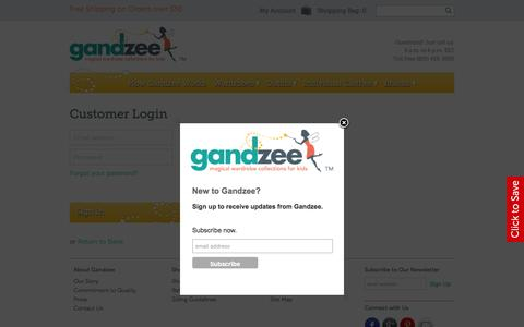 Screenshot of Login Page gandzee.com - Gandzee - Magical Wardrobe Collections for Kids - Welcome - captured Dec. 7, 2015