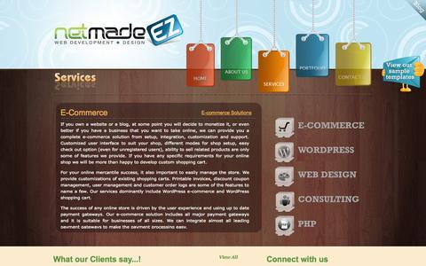 Screenshot of Services Page netmadeez.com - Services - captured Sept. 30, 2014