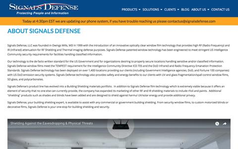 Screenshot of About Page signalsdefense.com - Signals Defense, Maryland Window Blinds, RF Shielding, Security - captured Sept. 19, 2017