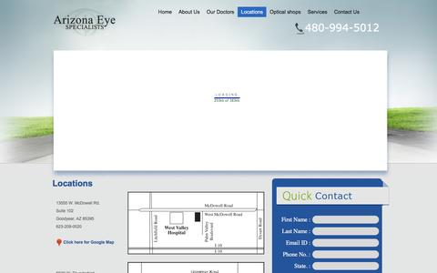 Screenshot of Locations Page arizonaeyes.net - Arizona Eye Specialists - We offer the complete range eye care services. - captured Feb. 6, 2016