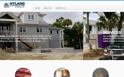 Screenshot of Home Page hylandconst.com - Hyland Construction & Design - captured Oct. 3, 2014