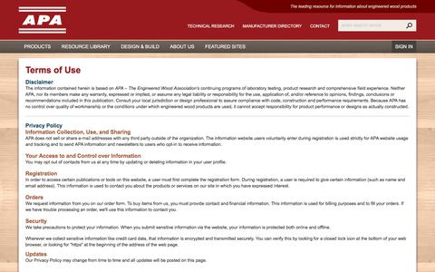 Screenshot of Terms Page apawood.org - Terms of Use - APA – The Engineered Wood Association - captured Oct. 7, 2017