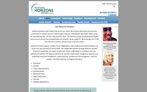 Screenshot of Signup Page resourcehorizons.com - Resource Horizons - Join - captured Oct. 26, 2014