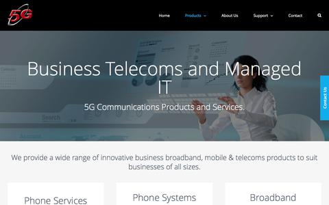 Screenshot of Products Page 5gcomms.com - Business Telecoms | 5G Communications - captured Oct. 18, 2017