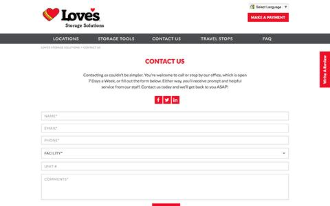 Screenshot of About Page Contact Page lovesstorage.com - Contact Us | Love's Storage Solutions - captured May 8, 2017