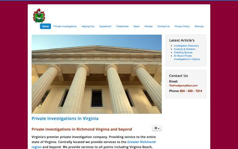 Screenshot of Home Page thefoxagencyllc.com - The Fox Agency LLC | Private Investigators in Virginia - captured Sept. 30, 2014