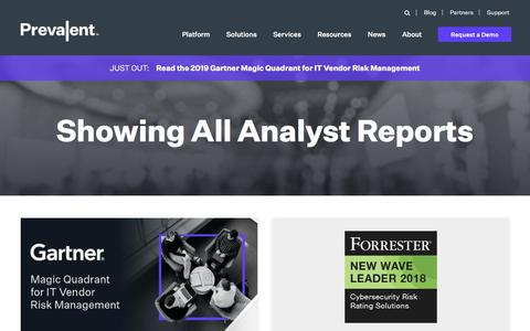 Screenshot of Case Studies Page prevalent.net - Analyst Reports - captured Dec. 12, 2019
