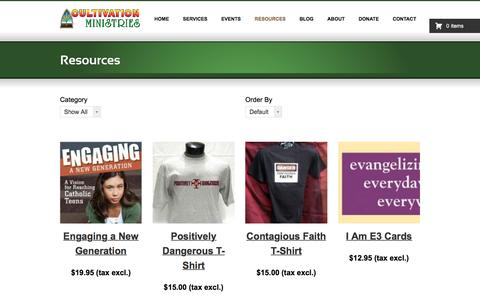 Screenshot of Products Page cultivationministries.com - Resources - Cultivation Ministries - captured Nov. 14, 2016