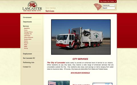 Screenshot of Services Page lancastercitysc.com - Services - City of Lancaster, SC - captured Oct. 2, 2014