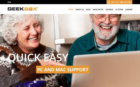 Screenshot of Home Page geekbox.com - - GeekBox - captured July 20, 2017