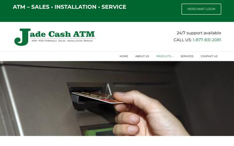 Screenshot of Products Page jadecash.ca - ATM Rentals Alberta | Products | Jade Cash ATM - captured Oct. 21, 2018