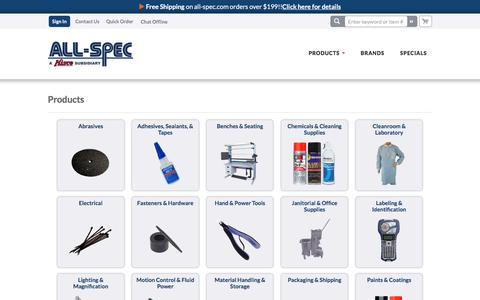 Screenshot of Products Page all-spec.com - Products We Carry - captured May 23, 2018