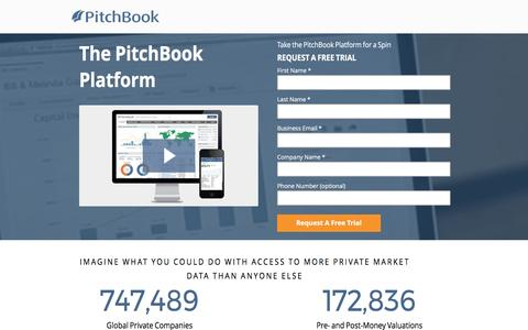 Screenshot of Landing Page pitchbook.com captured May 19, 2017