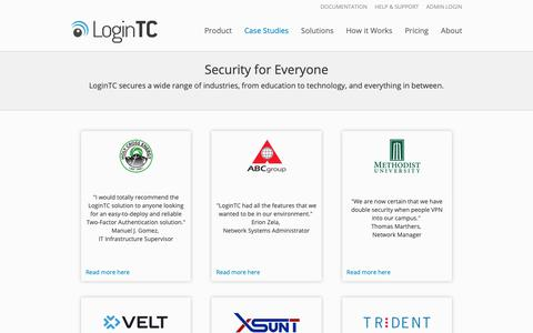 Screenshot of Case Studies Page logintc.com - Case Studies | LoginTC - Simple and Secure Two-Factor Authentication - captured Sept. 30, 2018