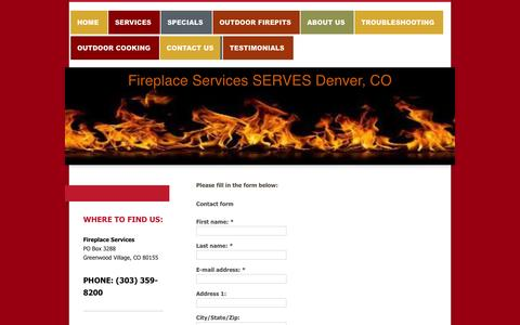 Screenshot of Contact Page denverfireplaceservices.com - Contact Fireplace Services by Phone or Email - Denver, CO - captured Nov. 3, 2014