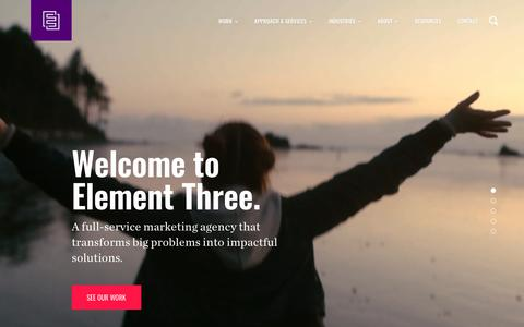 Screenshot of Home Page elementthree.com - Element Three - Full-Service Marketing Agency - captured Oct. 22, 2019